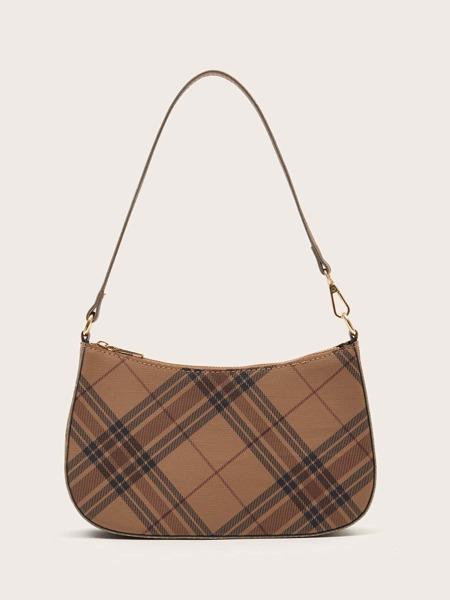 Plaid Pattern Baguette Bag