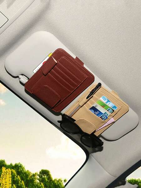 1pc Random Car Sun Visor Card Holder
