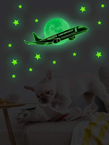 Kids Plane Print Luminous Wall Sticker