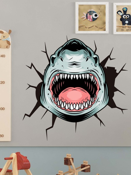 Kids Cartoon Shark Print Wall Sticker