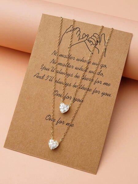 2pcs Zircon Heart Pendant Necklace