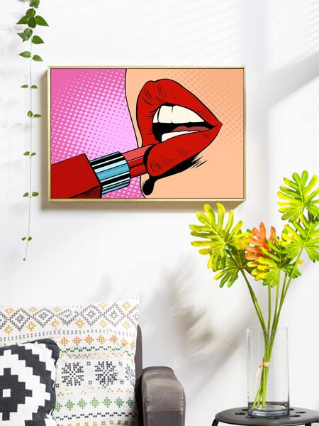 Lip Print Wall Painting Without Frame