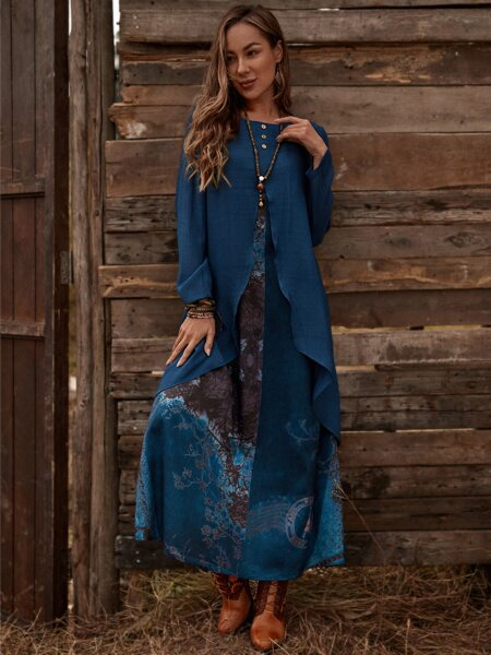 2 In 1 Button Front Tunic Dress
