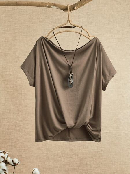 Solid Twist Front High Low Tee