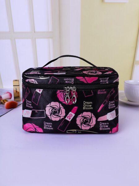 Flower & Lipstick Print Zipper Makeup Bag