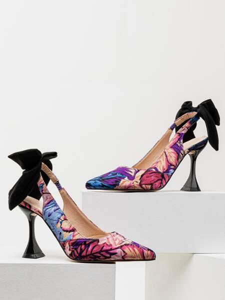 Leaf Print Bow Decor Slingback Heels