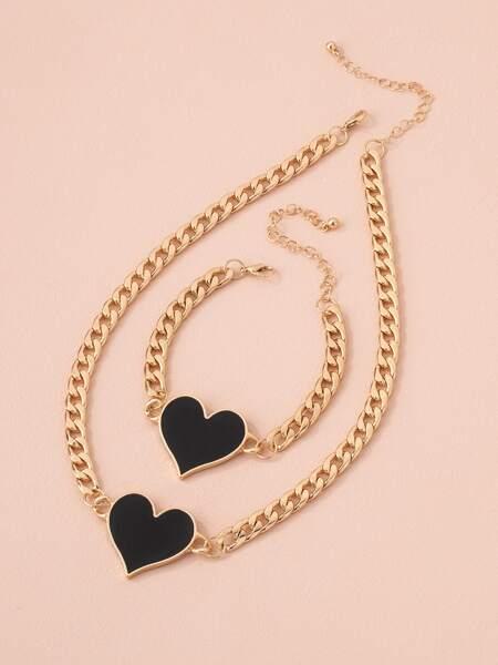 1pc Heart Pendant Necklace & 1pc Bracelet