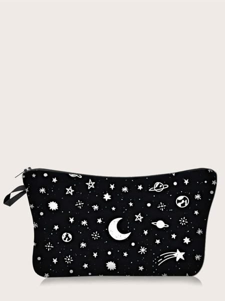 Moon & Star Print Makeup Bag