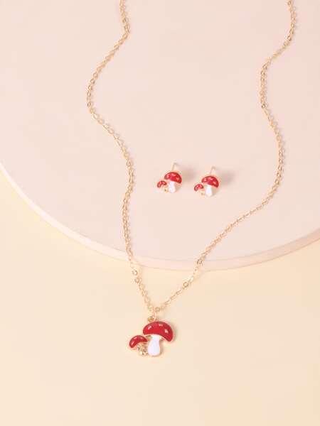 1pc Mushroom Pendant Necklace & 1pair Earrings