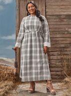 Plus Plaid Frill Trim A-Line Dress