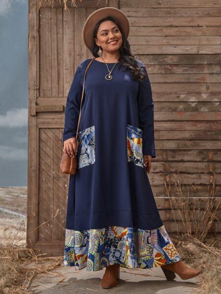 Plus Baroque Patchwork Maxi Dress
