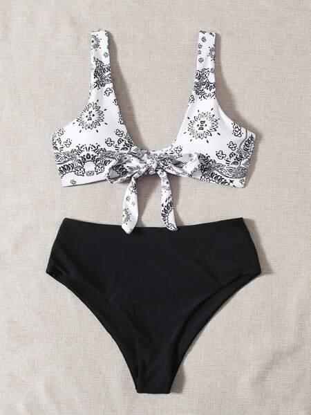 Graphic Knot Front Bikini Swimsuit