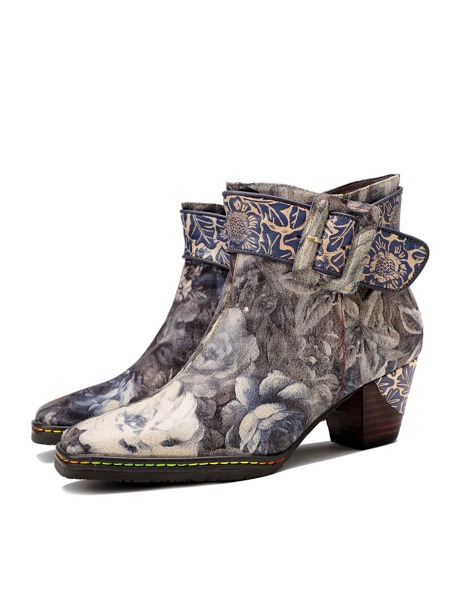 Floral Graphic Buckle Decor Chunky Boots