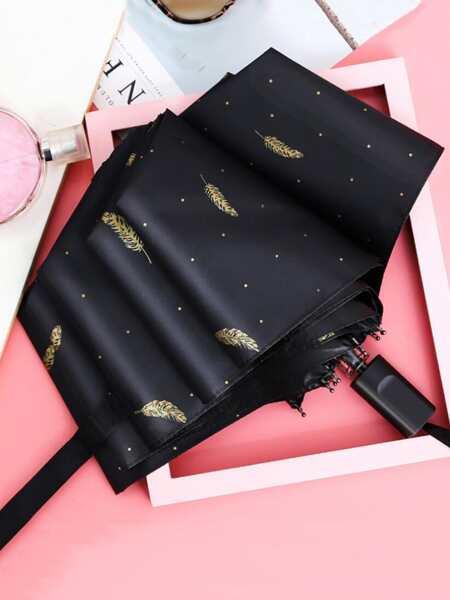 Feather Print Sunscreen Umbrella