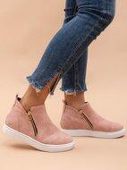 Side Zipper Suede Skate Shoes