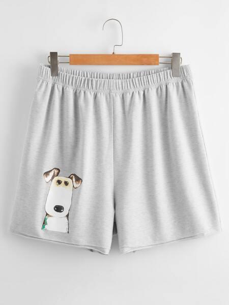 Plus Dog Print Elastic Waist Shorts