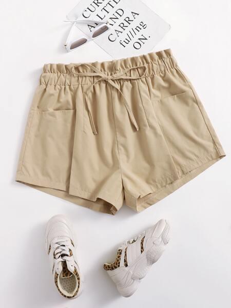 Plus Paper Bag Waist Drawstring Shorts