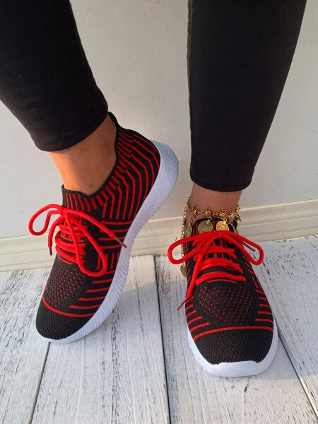 Lace-up Decor Striped Sneakers