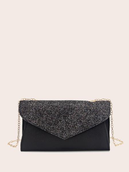 Glitter Flap Chain Bag