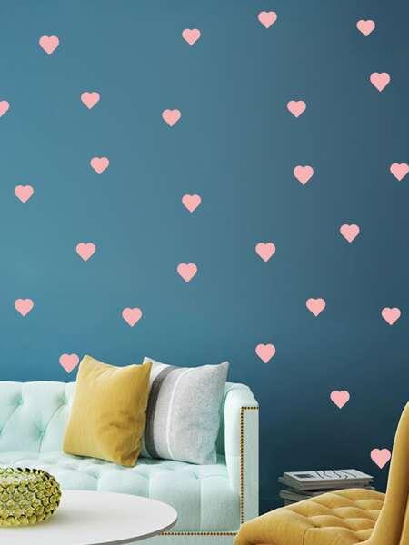 2sheets Kids Heart Print Wall Sticker