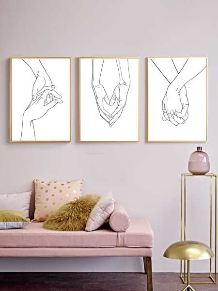 3pcs Hand Print Wall Painting Without Frame