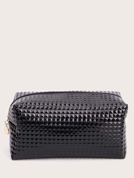 Textured Zipper Makeup Bag