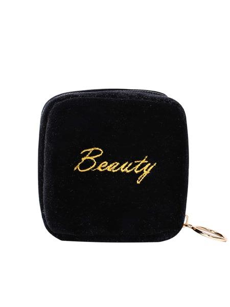 Letter Embroidered Makeup Bag