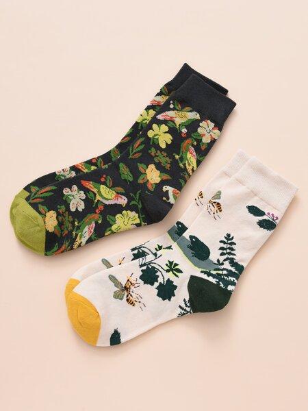 2pairs Flower Pattern Socks