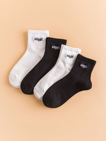 4pairs Letter Embroidery Socks