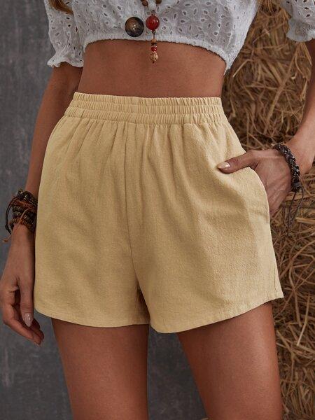 Solid Elastic Waist Shorts