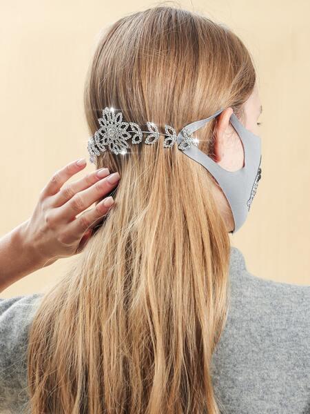 Rhinestone Decor Face Mask Hook