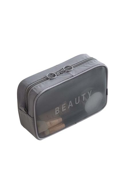 Letter Graphic Mesh Makeup Bag
