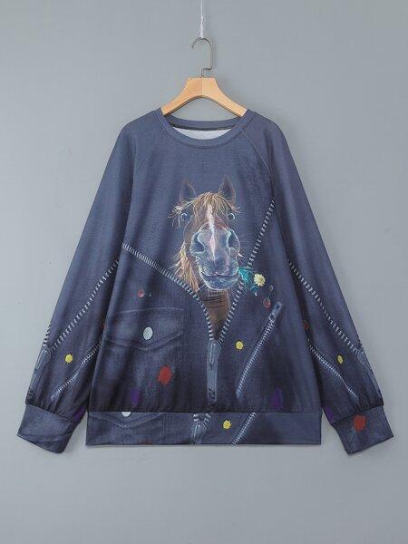Plus 3D Horse Print Raglan Sleeve Sweatshirt