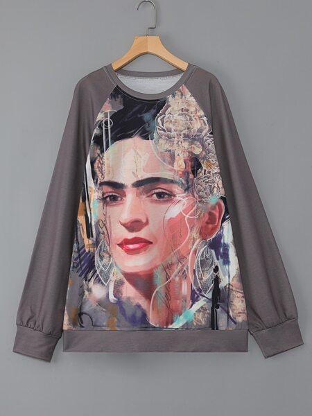 Plus Figure & Floral Print Raglan Sleeve Sweatshirt