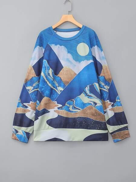 Plus Lake & Moon Print Sweatshirt