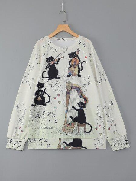 Plus Cat & Music Pattern Print Sweatshirt