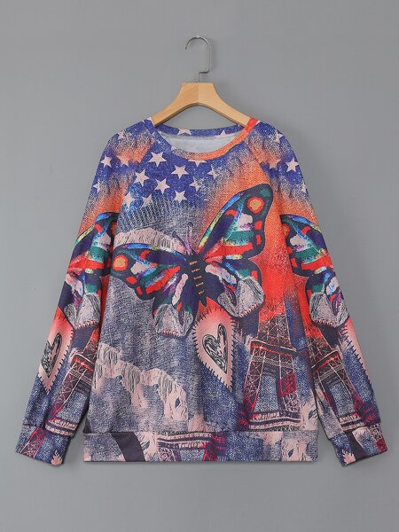 Plus Butterfly & Star Print Raglan Sleeve Sweatshirt