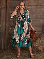 Plus Surplice Neck Paisley And Leopard A-line Dress