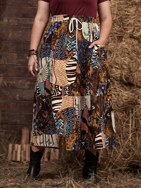 Plus Geo Colorblock A-line Skirt