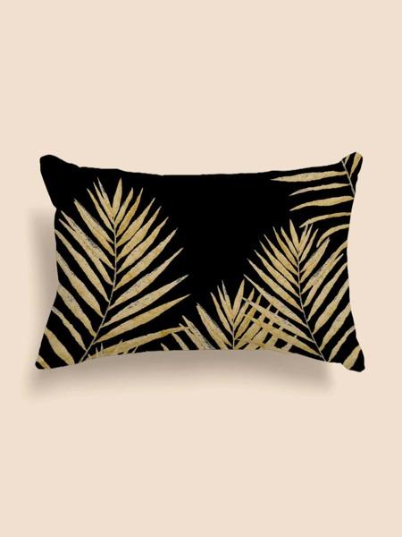 Leaf Print Lumbar Pillow Cover Without Filler