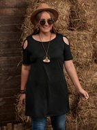 Plus Cold Shoulder Tunic Tee