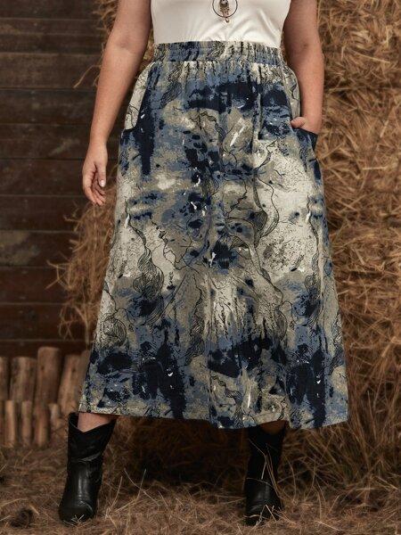 Plus Graphic Print Dual Pocket A-line Skirt