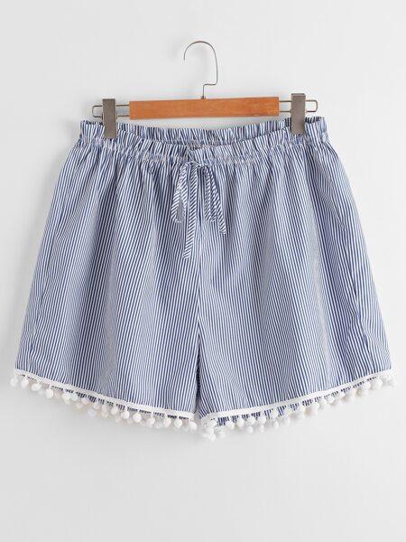 Plus Striped Pom Pom Decoration Shorts