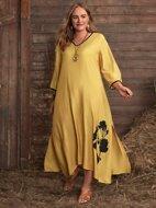 Plus Floral Print Split Side Dress