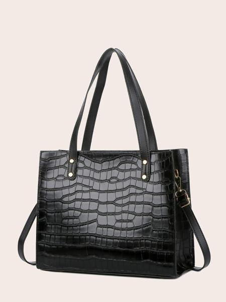 Croc Embossed Tote Bag