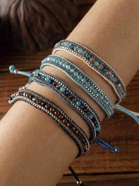 4pcs Crystal Decor Bracelet