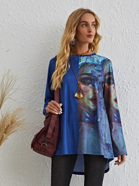 Figure And Butterfly Print High Low Tee