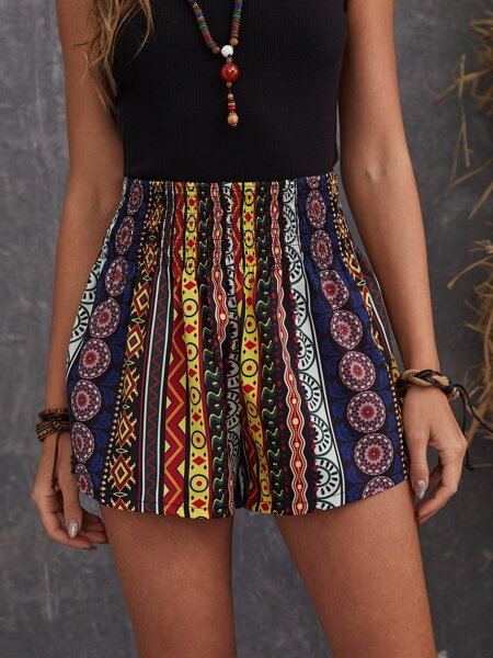 Shirred Waist Geo Print Shorts