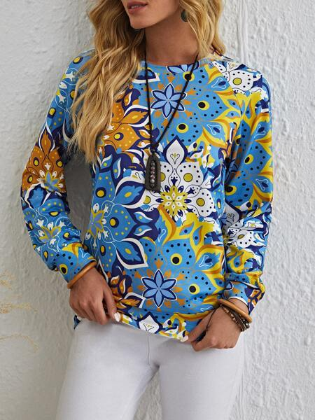 All Over Floral Print Sweatshirt