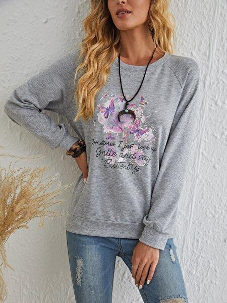 Slogan And Butterfly Print Sweatshirt